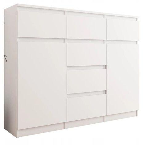 MONACO - Commode contemporaine meuble rangement chambre - 120x40x98 - 6 tiroirs coulissants - Buffet séjour - Mobilier bureau - Blanc