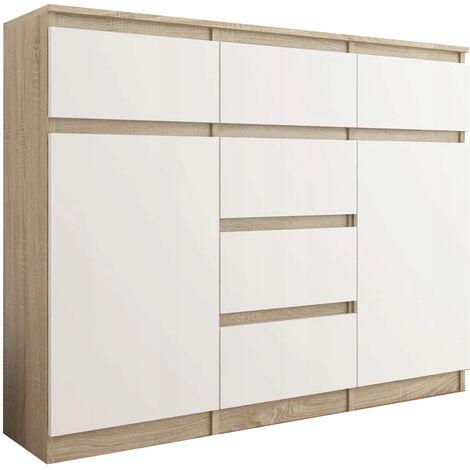 MONACO - Commode contemporaine meuble rangement chambre/salon/bureau - 120x40x98 cm - 6 tiroirs coulissants - Buffet séjour - Sonoma/Blanc
