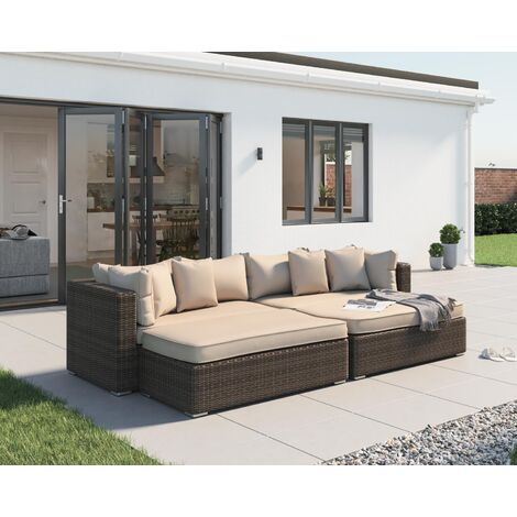 Monaco Rattan Garden Day Bed Set in Truffle and Champagne
