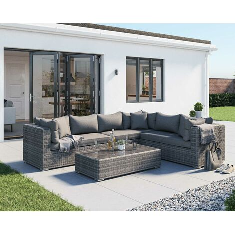 Monaco Rattan Garden Lefthand Corner Sofa Set in Grey