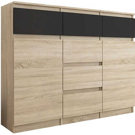 MONACO S1 - Commode tendance meuble rangement chambre/salon - 120x40x98 - 6 tiroirs 2 portes - Finition Gloss - Buffet séjour - Sonoma/Noir Gloss