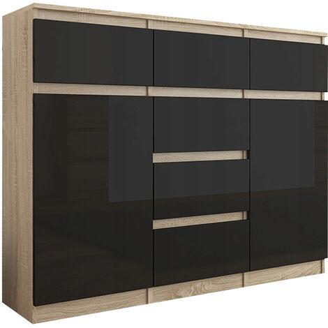 MONACO S2 - Commode moderne meuble rangement chambre/salon - 120x40x98 cm - 6 tiroirs + 2 portes - Finition Laquée - Buffet - Sonoma/Noir Gloss
