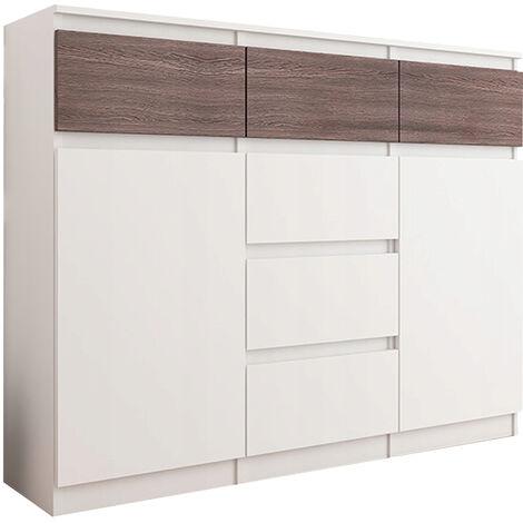 MONACO W1 - Commode contemporaine rangement chambre - 120x40x98  6 tiroirs 2 portes - Finition Gloss - Buffet meuble salon/séjour - Wenge Gloss