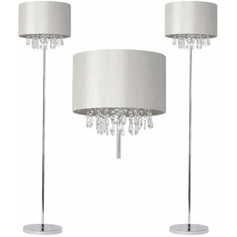 Mondern Glam Chrome w/ Silver Grey Silk Shade Jewelled Floor Light Standard Lamp