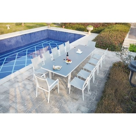 Moniga 12 : table de jardin extensible 12 personnes avec 2 fauteuils ...