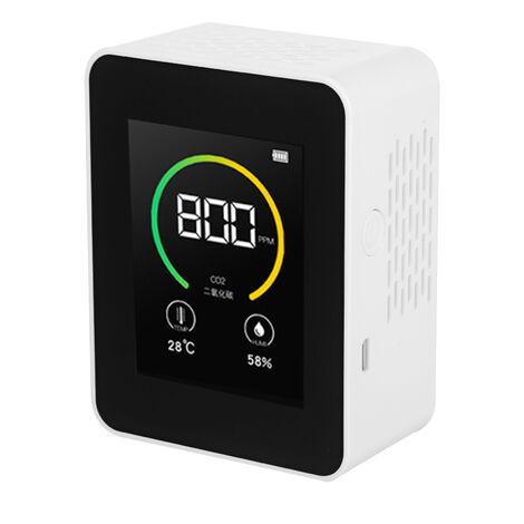 Monitor de calidad del aire Medidor de CO2 Detector de dioxido de carbono de temperatura y humedad con funcion de alarma Detector de gas de aire en tiempo real de sobremesa para oficina en casa, jardin de infantes, color negro