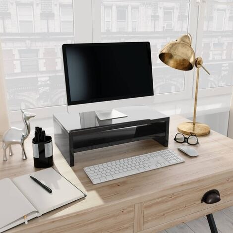 Monitor Stand High Gloss Black 42x24x13 cm Chipboard