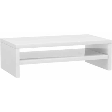 Monitor Stand High Gloss White 42x24x13 cm Chipboard
