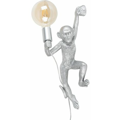 Monkey Holding Light Bulb Wall Light + 6W LED Filament Bulb - Silver - Silver