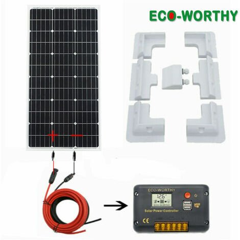 """main image of """"Mono 100W solar panel battery charge 10A Solar controller 4 Corner Brackets Home"""""""