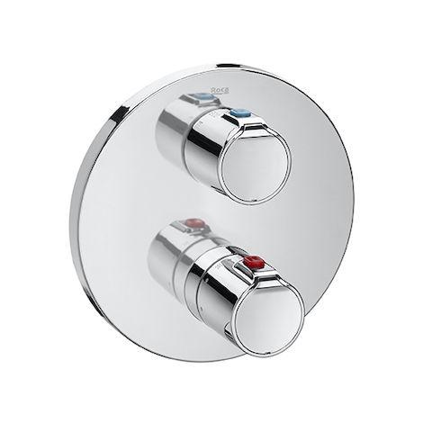 MONOBLOC TERMOSTATICO EMPOTRADO ROCA T-500, Mezclador termostático empotrable para baño-ducha con desviador-regulador de caudal a las dos salidas superiores y salida inferior libre. A5A2A18C00