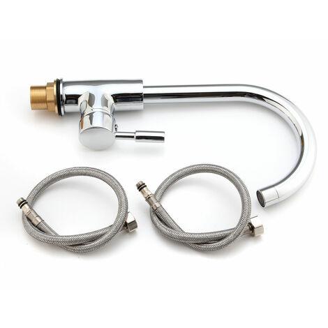 Monoblock Single Lever Swivel Spout Chrome Plated Brass Kitchen Sink Mixer Tap