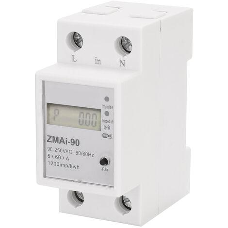 Monofasico para carril DIN Wifi inteligente del medidor de energia, consumo de energia Kwh Meter