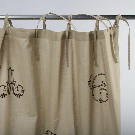 MONOGRAMME - <p>Rideau 100% coton à lacets brodé de lettres beige 110x250</p> - Marron