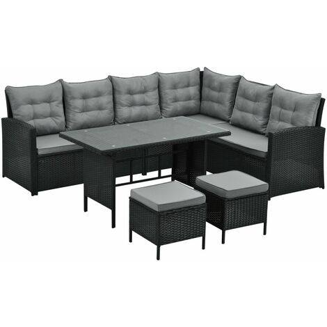 Monroe 8 Seater Garden Rattan Furniture Corner Dining Set Table Sofa Bench Stool Grey