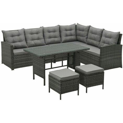 """main image of """"Monroe 8 Seater Garden Rattan Furniture Corner Dining Set Table Sofa Bench Stool Brown"""""""
