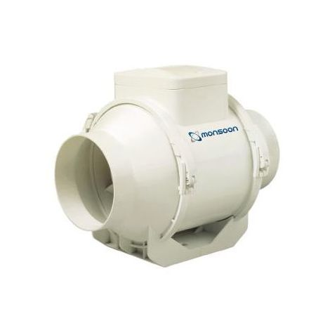 Monsoon UMD100T 100mm Mixed Flow In-Line Duct Fan with Timer for 100mm/4 inch Ducting