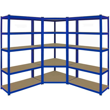 Monster Racking T-Rax Corner Shelving Unit & 90cm Garage Storage Bays x2, Blue
