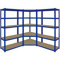 Monster Racking T-Rax Corner Shelving Unit & 90cm Garage Storage Bays x2, Blue