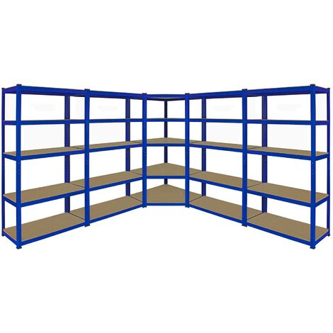 Monster Racking T-Rax Corner Shelving Unit & 90cm Garage Storage Bays x4, Blue