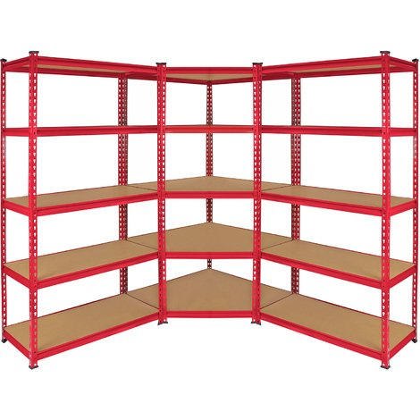 Monster Racking Z-Rax Corner Shelving Unit & 2x 90cm Garage Storage Bays, Red