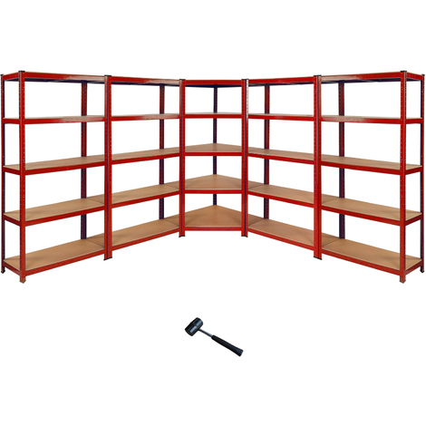 Monster Racking Z-Rax Corner Shelving Unit & 4x 90cm Garage Storage Bays, Red