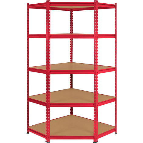 Monster Racking Z-Rax Corner Storage Shelf Unit, Red, 90cm Wide