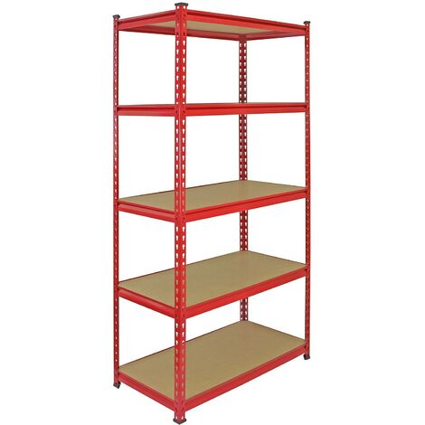 Monster Racking Z-Rax Extra Strong Steel Shelves, Red, 90cm W, 45cm D