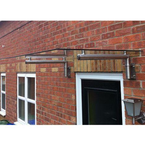 MonsterShop Glass Door Canopy & Brackets, 120cm W, 80cm D
