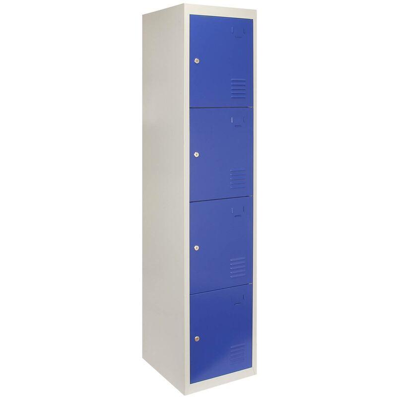 MonsterShop Métal casiers 4 portes de stockage, Flatpack Bleu et gris en métal verrouillable unité Personnel d'école Gym Changement - Bleu