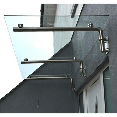 MonsterShop - Toldo de Cristal 180cm x 80cm con Soportes en Acero Inoxidable para Puertas Externas