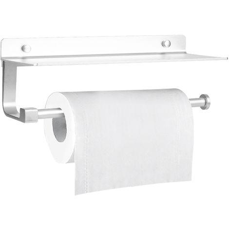 Montado en la pared del rollo de papel titular, almacenamiento de bano estante de aluminio adhesivo tisular dispensador Estante, Plata