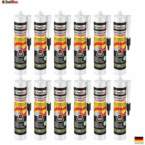 Montagekleber FIX-POWER Baukleber 12 x 300ml Styroporkleber weiß 200kg / 10cm