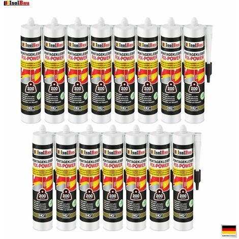 Montagekleber FIX-POWER Baukleber 15 x 300ml Styroporkleber weiß 200kg / 10cm