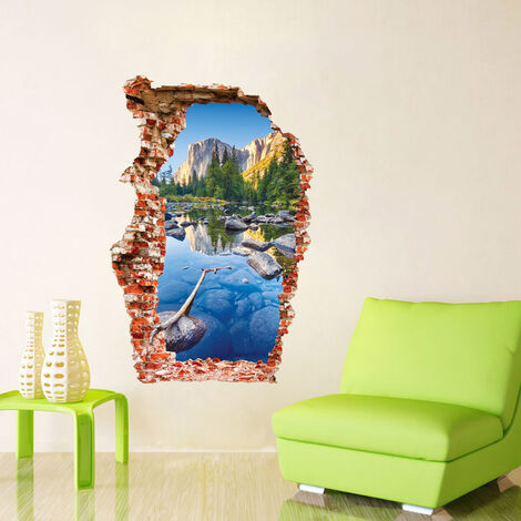 Montagna - wall sticker Adesivo Murales Da Parete Sticker Effetto 3D Illusione ottica Buco Parete