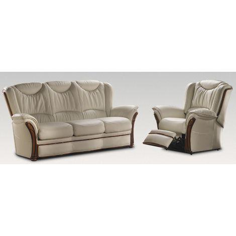 Montana 3+1 Manual Reclining Genuine Italian Cream Leather Sofa Suite Offer