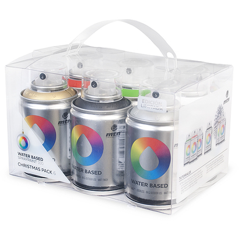 Montana Colors - Pack Spray Base Agua 6 Colors (Oro-Plata-Negro-Rojo-Verde-Blanco)