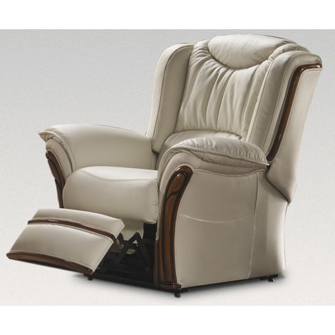 Montana Manual Reclining Armchair Sofa Genuine Italian Cream Leather Offer