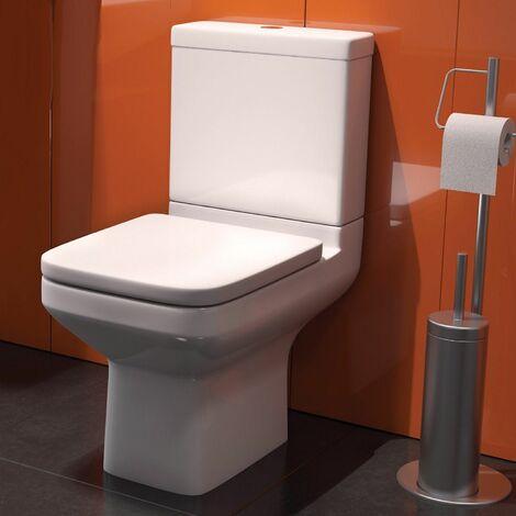 "main image of ""Montpellier Bathroom Space Saving Toilet WC Soft Close Dual Flush White Modern"""