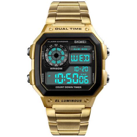 Montre electronique de sport etanche multifonction 5ATM pour hommes de Time Beauty, bracelet en acier inoxydable, bande en or avec boite en fer + boite en papier
