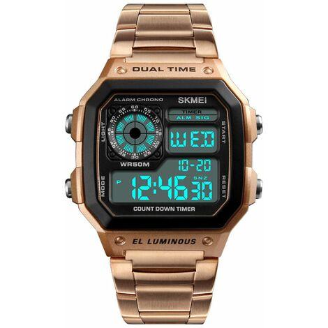 Montre electronique de sport etanche multifonction 5ATM pour hommes de Time Beauty, bracelet en acier inoxydable, bande en or rose, boite en fer + boite en papier