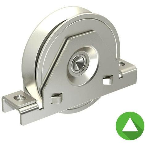 Monture à support intérieur pour portail coulissant - Galet Ø120 mm à gorge en V 21 mm - 500 kg