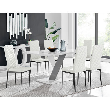 "main image of ""Monza 6 White/Grey Dining Table & 6 Milan Black Leg Chairs"""