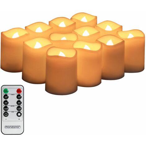 Monzana 12x LED Echtwachs Teelichter Flackernd Mit Fernbedienung Timer & Batterien Kerzen Timerfunktion Creme Warmweiß