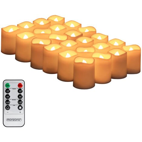 Monzana 24x LED Candles Real Wax Flickering Tea Lights Remote Timer & Batteries Warm White 10 Modes