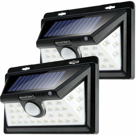 Monzana 2x Lámparas de pared solares con sensor de movimientos y 36 focos LED's 159x106x58mm Plástico