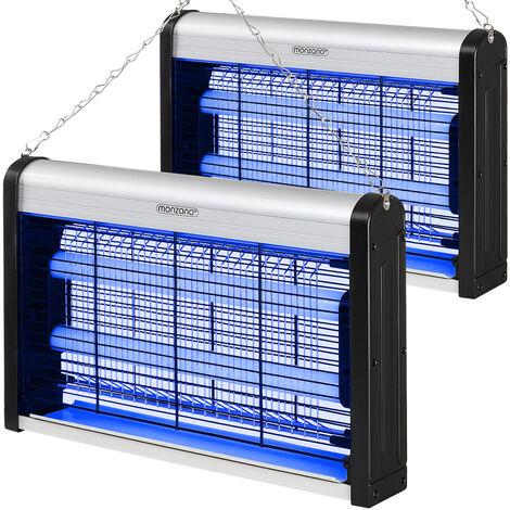 Monzana 2x Lámparas matamoscas eléctrica antimosquito destructor de insectos voladores LED UV 50m² con cadena para colgar