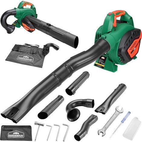 Monzana 3en1 Soplador aspirador y trituradora de gasolina con bolsa de 45L herramienta para exterior jardín 2 tubos