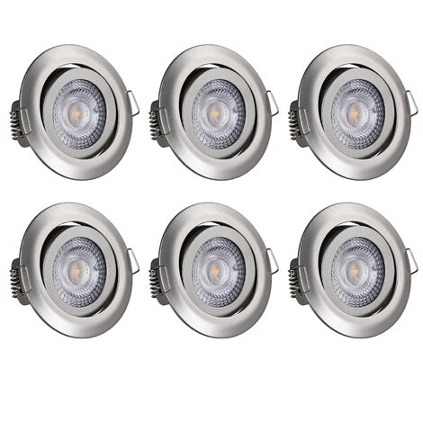 monzana 6 pieces Set LED Recessed Lights Dimmable Swivelling Spotlights