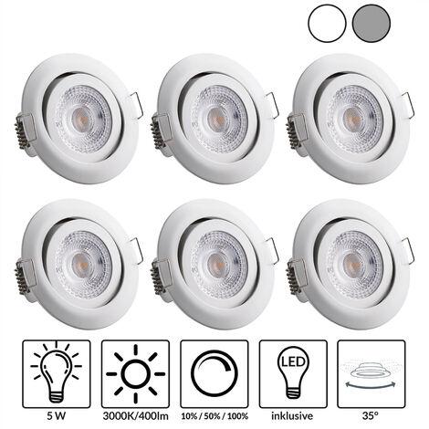 monzana 6er Set LED Einbauleuchte dimmbar Einbauspots schwenkbar Einbaustrahler